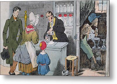 The Pharmacist And His Assistant Metal Print by Grandville