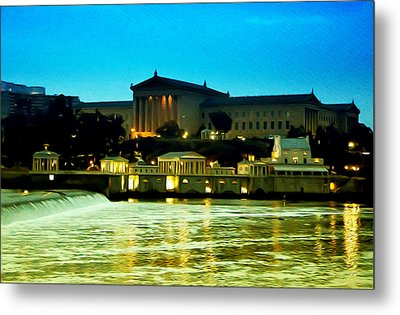 The Philadelphia Art Museum And Waterworks At Night Metal Print by Bill Cannon