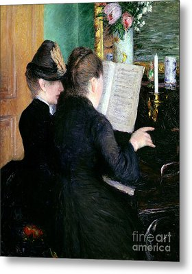 The Piano Lesson Metal Print by Gustave Caillebotte