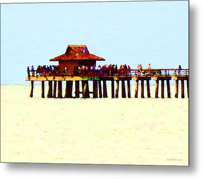 The Pier - Beach Pier Art Metal Print by Sharon Cummings