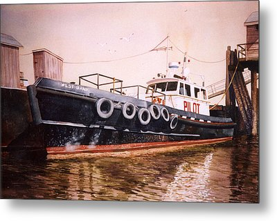 The Pilot Boat Metal Print by Marguerite Chadwick-Juner