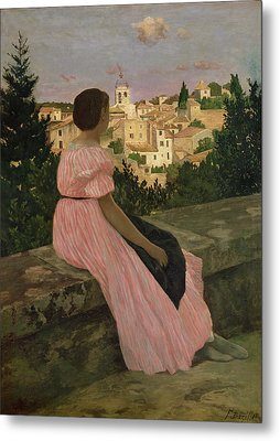 The Pink Dress Metal Print by Jean Frederic Bazille