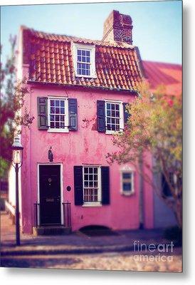 The Pink House Charleston Metal Print by Sonja Quintero