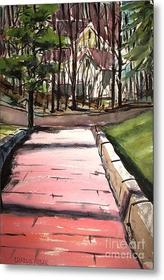 Metal Print featuring the painting The Pink Road Off S Broadway Matted Glassed by Charlie Spear