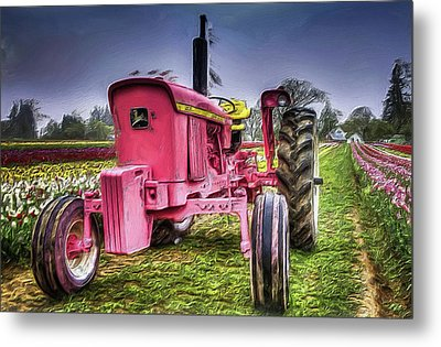 Metal Print featuring the photograph The Pink Tractor At The Wooden Shoe Tulip Farm by Thom Zehrfeld