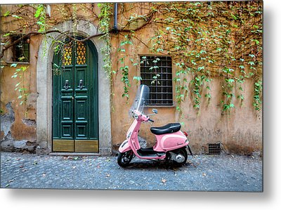 The Pink Vespa Metal Print by Al Hurley