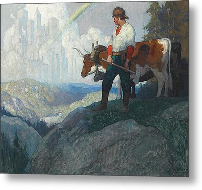 The Pioneer And The Vision Metal Print by Newell Convers Wyeth