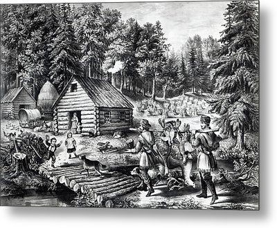 The Pioneer's Home On The Western Frontier Metal Print
