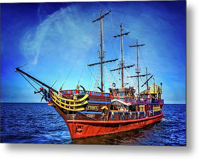 The Pirate Ship Ustka In Sopot  Metal Print