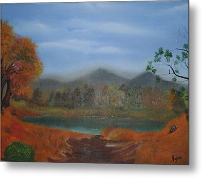 Metal Print featuring the painting The Pond by Barbara Hayes