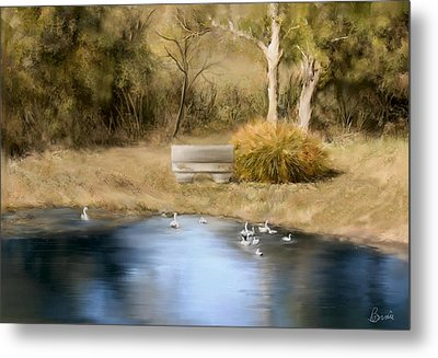 Metal Print featuring the painting The Pond by Bonnie Willis