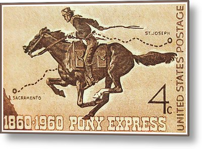The Pony Express Centennial Stamp Metal Print by Lanjee Chee