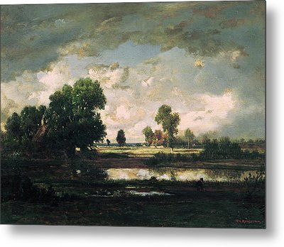 The Pool With A Stormy Sky Metal Print by Pierre Etienne Theodore Rousseau