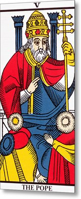 The Pope Tarot Card Metal Print by French School