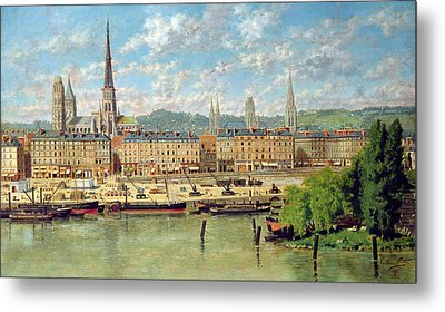 The Port At Rouen Metal Print by Torello Ancillotti