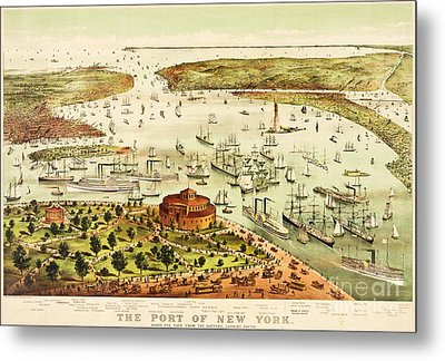 The Port Of New York Harbor Metal Print by Pg Reproductions