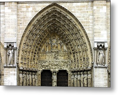 The Portal Of The Last Judgement Of Notre Dame De Paris Metal Print by Fabrizio Troiani