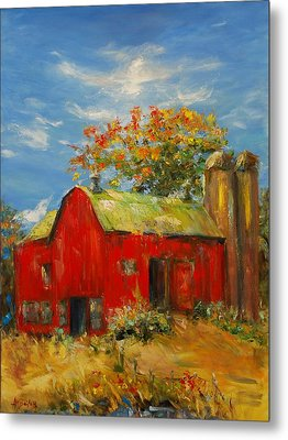 The Porter Barn In Red  Metal Print by Ann Bailey
