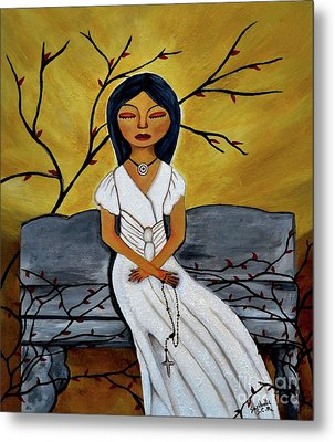 The Power Of The Rosary Religious Art By Saribelle Metal Print by Saribelle Rodriguez