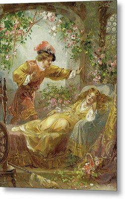 The Prince Finds The Sleeping Beauty Metal Print by English School