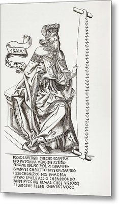 The Prophet Isaiah, Holding The Saw Metal Print by Vintage Design Pics