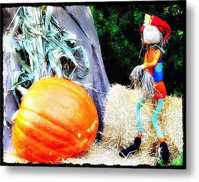 the Pumpkin and the Scarecrow Metal Print by Bill Cannon