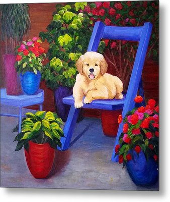 The Puppy In The Garden Metal Print