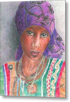 The Purple Scarf  Metal Print by Arline Wagner
