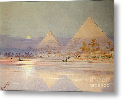 The Pyramids At Dusk Metal Print by Augustus Osborne Lamplough