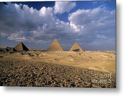 The Pyramids At Giza Metal Print by Sami Sarkis