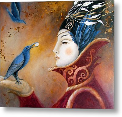 The Queen And Blue Crow Metal Print