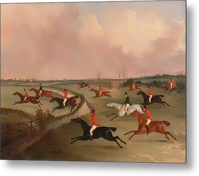 The Quorn Hunt In Full Cry Metal Print by Mountain Dreams
