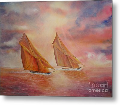 Metal Print featuring the painting The Race by Beatrice Cloake