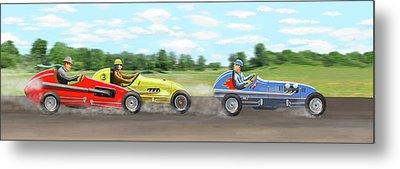 Metal Print featuring the digital art The Racers by Gary Giacomelli