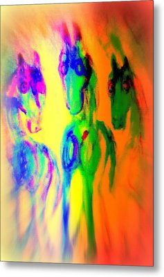 The Rainbow Horses Are Coming Closer And You Don't Know What To Say  Metal Print