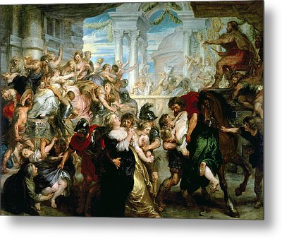 The Rape Of The Sabine Women Metal Print by Peter Paul Rubens