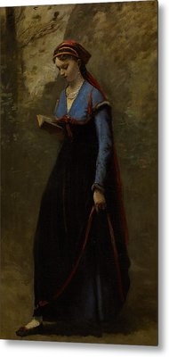 The Reader Metal Print by Jean Baptiste Camille Corot
