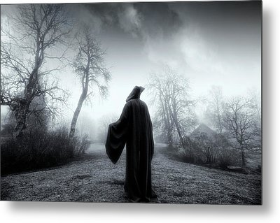 The Reaper Moving Through Mist And Fog Metal Print by Christian Lagereek