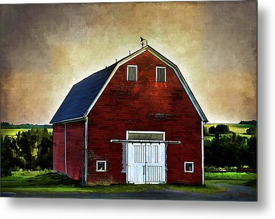 Metal Print featuring the mixed media The Red Barn by Gary Smith