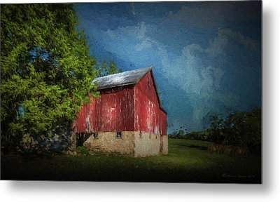 Metal Print featuring the photograph The Red Barn by Marvin Spates