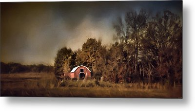 The Red Barn Welcomes Autumn Metal Print by Jai Johnson