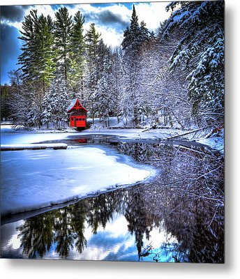 The Red Boathouse On Beaver Brook 2 Metal Print by David Patterson