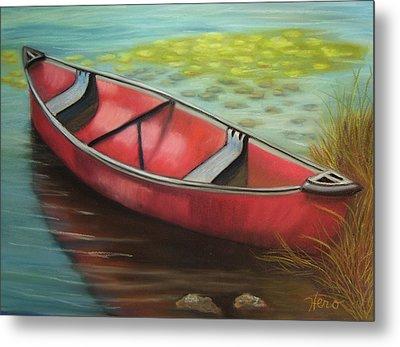 The Red Canoe Metal Print by Marcia  Hero