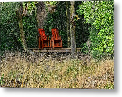 Metal Print featuring the photograph The Red Chairs by Deborah Benoit