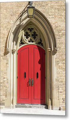 The Red Church Door. Metal Print