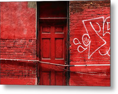 The Red Door Bar Metal Print by Kreddible Trout