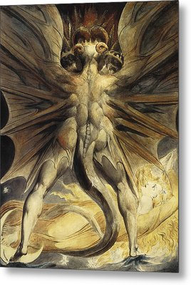 The Red Dragon And The Woman Clothed In Sun Metal Print by William Blake