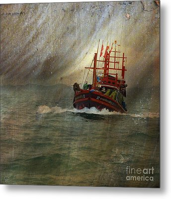 Metal Print featuring the photograph The Red Fishing Boat by LemonArt Photography