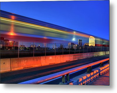 The Red Line Over The Longfellow Bridge Metal Print