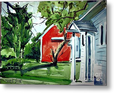 Metal Print featuring the painting The Red Oxide Barn Matted by Charlie Spear
